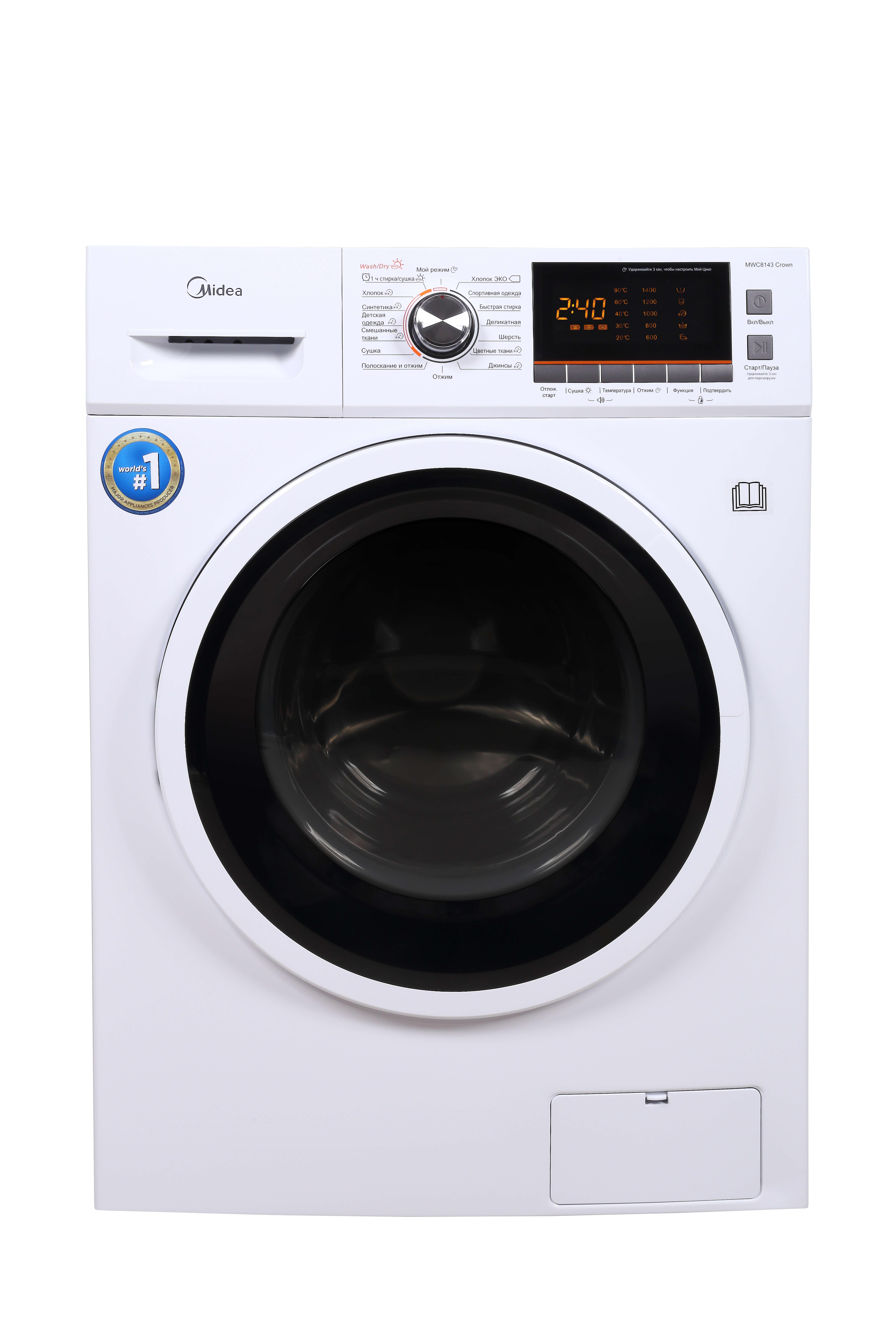 Узкая стиральная машина с сушкой Midea MWC8143 Crown фото
